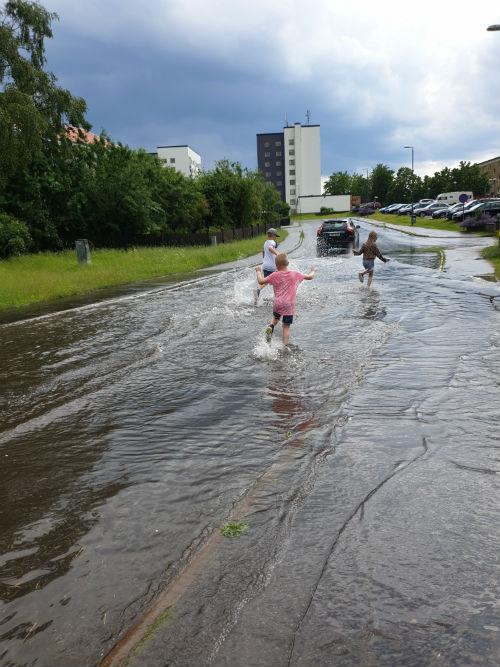 Lillegården, Skövde. Vattenpöl.