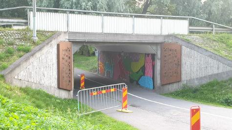 Konstverk vid Garpaparkens tunnel i Skövde