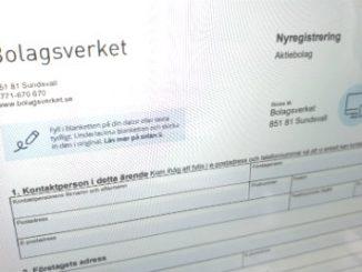 Nyregistreade företag i Skövde. Blankett.