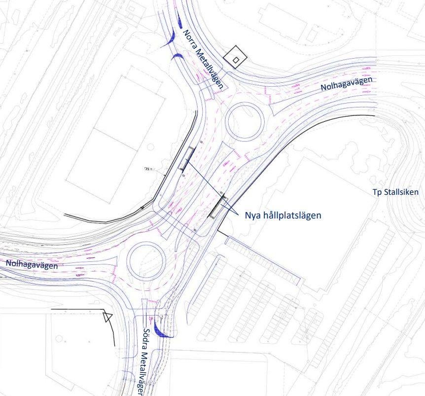 Ritning över Skövde kommuns planerade införande av tvåfiliga cirkulationsplatser på Stallsikens handelsområde.