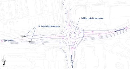 Ritning över Skövde kommuns planerade införande av tvåfiliga cirkulationsplatser vid korsningen av Mariestadsvägen och Nolhagavägen.