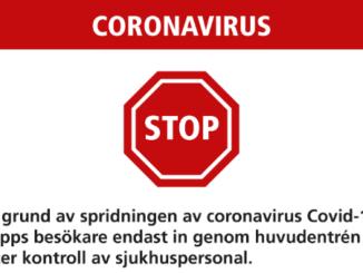 Stoppskylt Corona Skaraborgs Sjukhus
