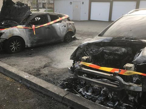 Brandskadade bilar, Södra Ryd i Skövde