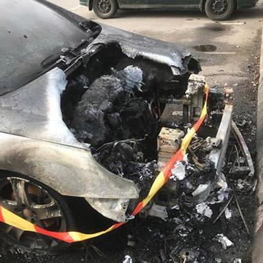 Brandrester, bilbrand Södra Ryd i Skövde